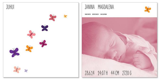 Janina: 2-seitig, 130×130 mm   Passender Kreativstempel erhältlich