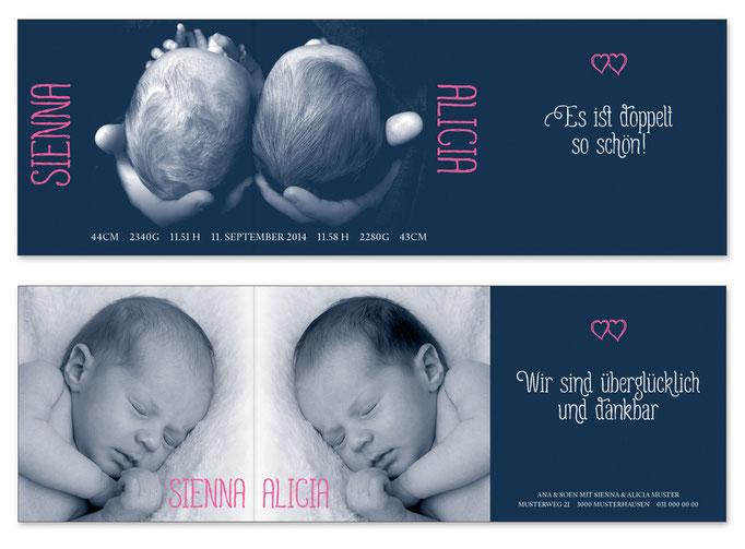Sienna & Alice: Leporello, offen: 435×145 mm, geschlossen: 145×145 mm   Foto: © Sabrina Züger, www.engels-fotografie.ch   Foto: © Nicole Ruffner-Racheter, www.babyaugenblick.ch