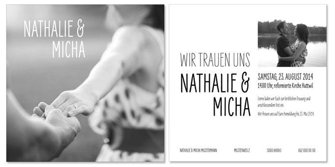 Nathalie & Micha: 2-seitig, 130×130 mm | Foto: © Karin Merz, www.karinmerz.com