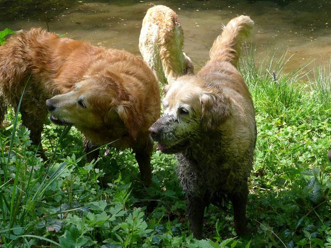 Birla und Leila entsteigen dem Bade