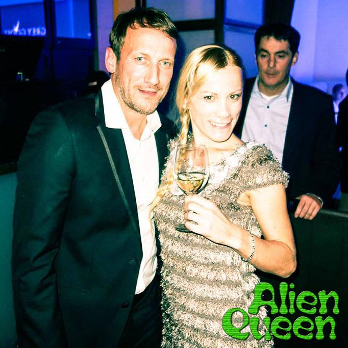 German actor Wotan Wilke Möhring (The Adlon) with Alien Queen, Nicolá MelissiAn. Schauspieler Wotan Wilke Möhring (Das Adlon) mit Alien Queen Hauptdarstellerin Nicolá MelissiAn.
