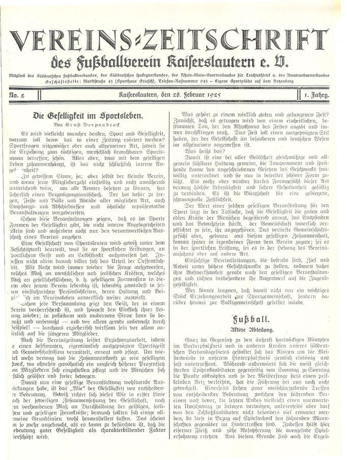 Deckblatt der Mitgliederzeitschrift vom 28.02.1925 (Foto: Archiv Eric Lindon)