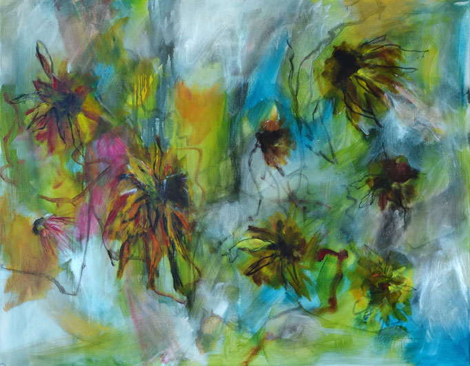 Autumn is Yellow - 100 x 80 x 1.8 cm / 39.4 x 31.5 x 0.7 in - acrylic/soft pastel on canvas