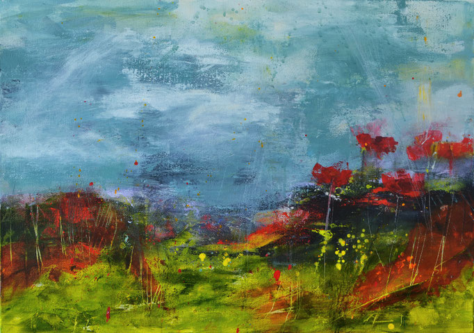Rainy Day in Tuscany 70 x 50 x 1.5 cm / 27.6 x 19.7 x 0.6 in -  mixed media (acrylic/oil pastel) on canvas - EUR 420,00