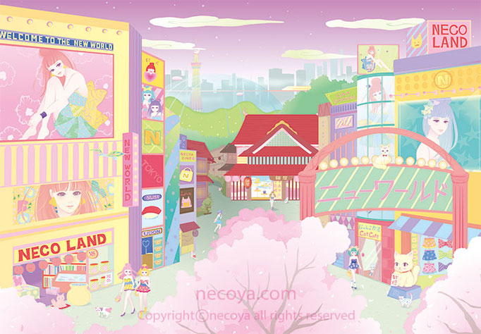 "女性イラスト original:「ニューワールド New World」Cute girls live in a new world. A store as ""necoya"" is in it."