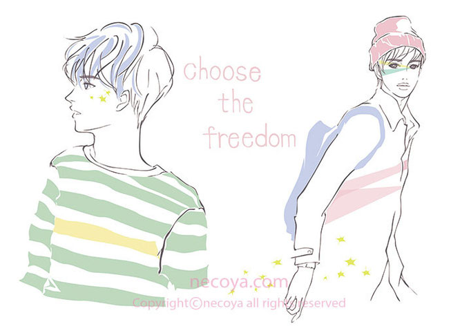 男性イラスト original:「choose-the-freedom」