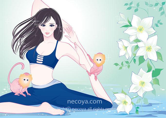 女性女性イラストwork :会報誌の表紙「お嬢様の花園」