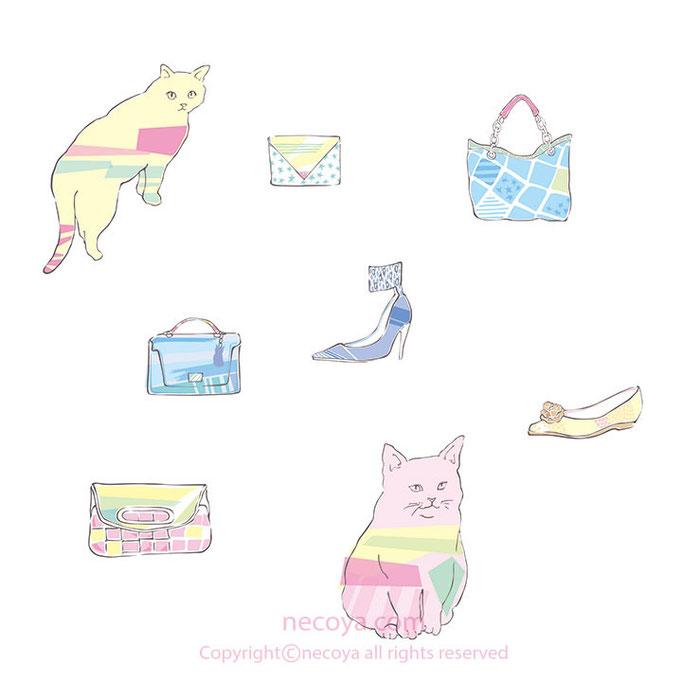 女性イラスト original:「猫と靴とバッグ」