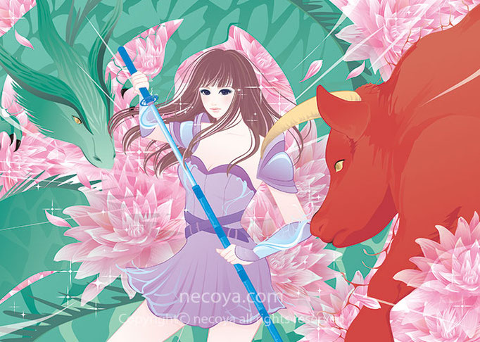 女性イラストwork :会報誌の表紙「お嬢様の花園」