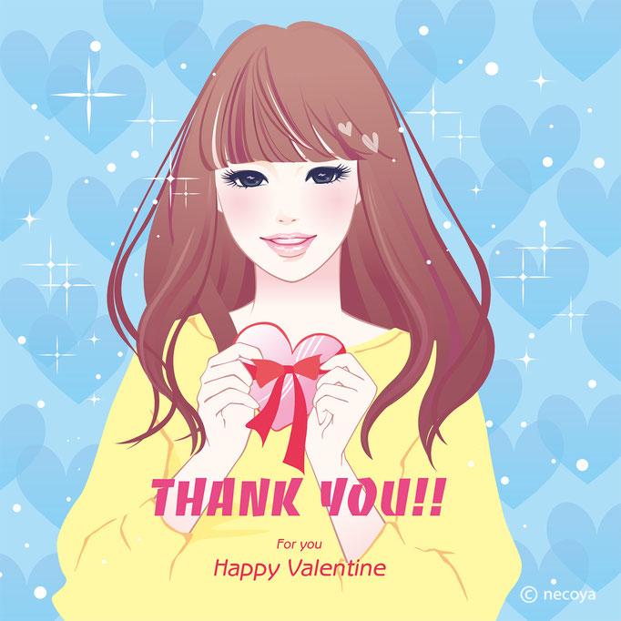 女性イラストoriginal : Happy Valentine