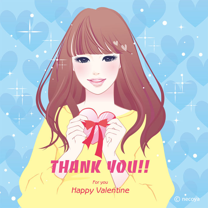 女性イラストoriginal : Happy Valentine