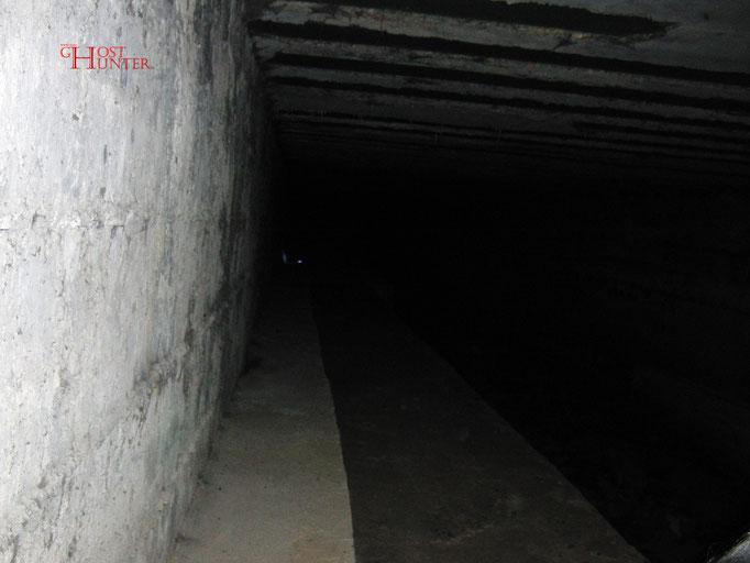 Wieder der Kreidetest, diesmal auf der anderen Tunnelseite.