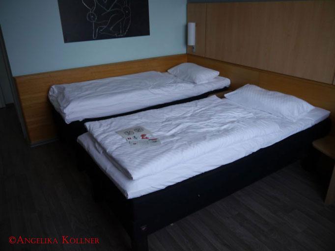Die Betten unseres Hotelzimmers. Einfach aber gemütlich.