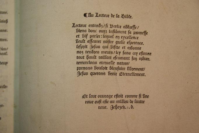 Colophon de la bible d'Olivetan - (la 1ere lettre de chaque mot donne une phrase faisant référence aux Vaudois)