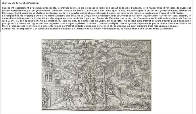 Assassinat du Duc de Guise par Jean Poltrot le 18 février 1563 - Gravure de Tortorel et Perrissin