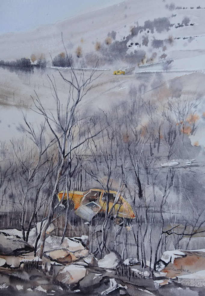 Après l'incendie à Tuchan *n°26  26x36 (2016)