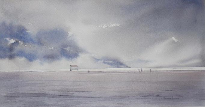 Gruissan plage arrivée de l'orage * 29x55 (2017)