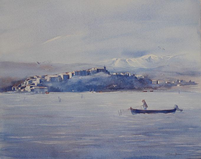 Bages et le Canigou n°19 Barque bleue 40x50 * (2016)