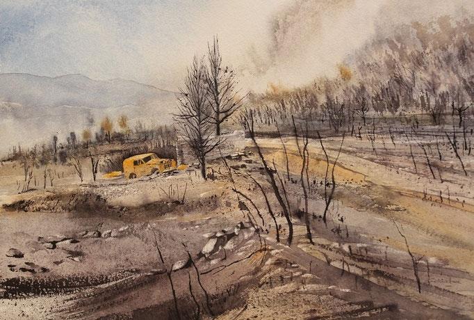 Après l'incendie à Tuchan n°27*34x52  (2016)
