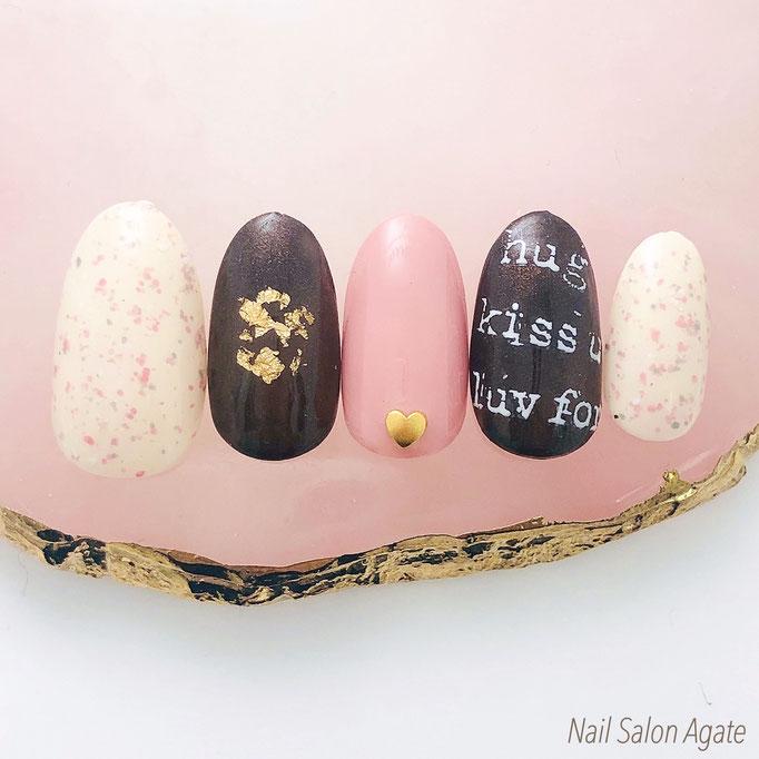 バレンタインネイル, チョコレートネイル, いちごチョコネイル, ダークチョコレートネイル, ピンクネイル