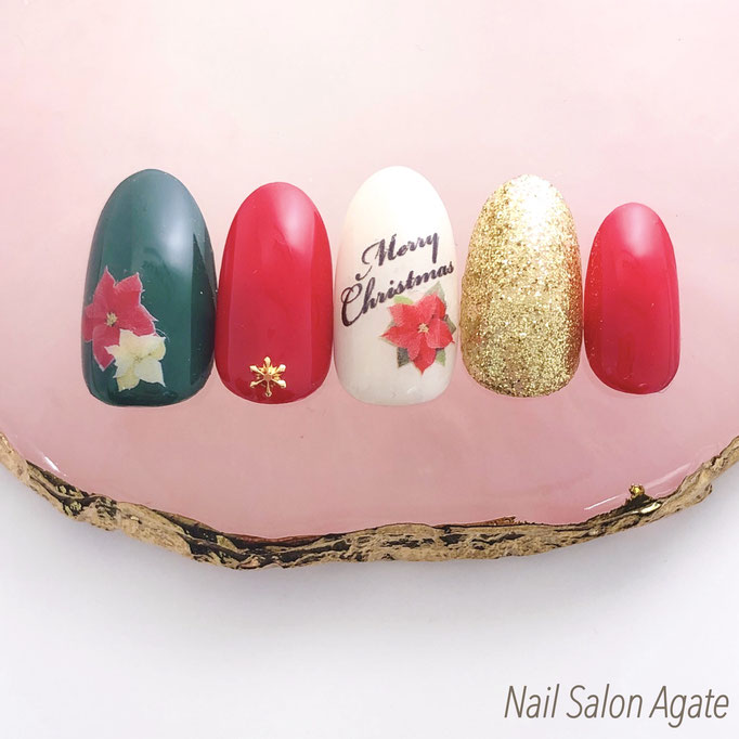 クリスマスネイル/ポインセチアネイル/冬ネイル/赤ネイル