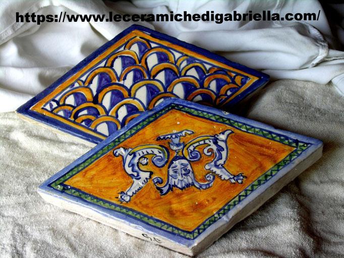 mattonella rombo in cotto spessore 2 cm dipinta a mano