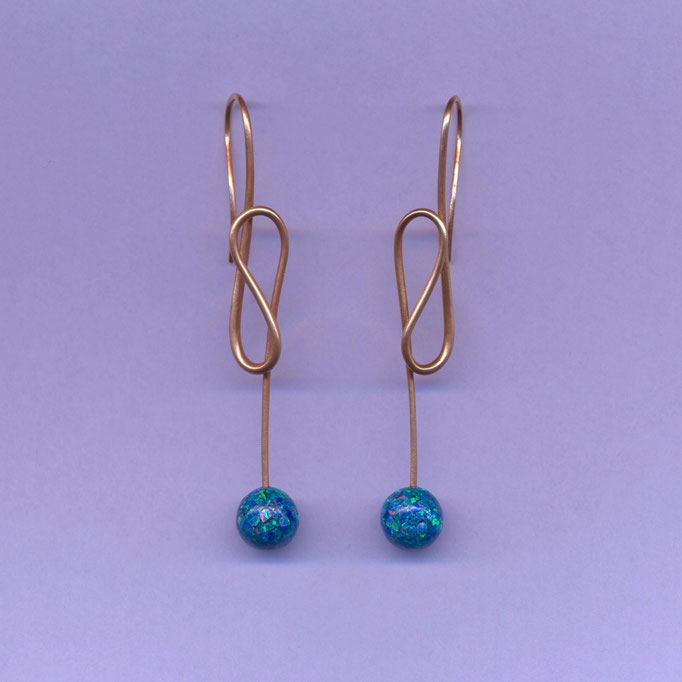 Ohrringe mit Opal Mosaik, Gelbgold 750 (zusätzlich vergoldet)