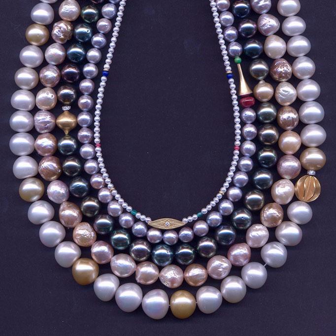 Die Schönheit verschiedener Perlen