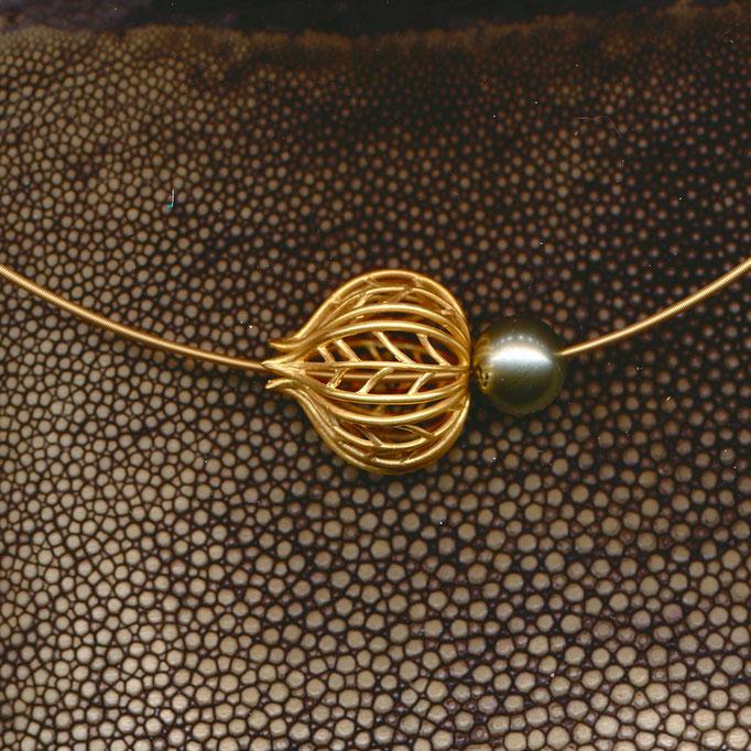 Anhänger mit Tahiti Perle, Gelbgold 750 (zusätzlich vergoldet)