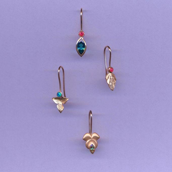 Ohrringe mit verschiedenen Edelsteinen und Perlen, Gelbgold 900 & 750