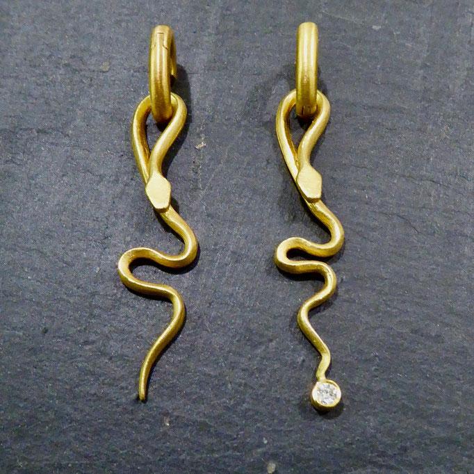 Ohrringe mit Brilliant, Gelbgold 900