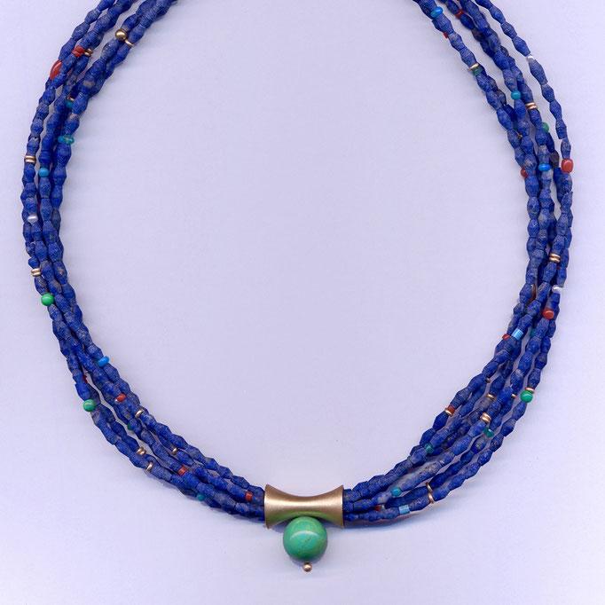 Halskette mit Lapis, Türkis & anderen Edelsteinen, Gelbgold 900 & 750