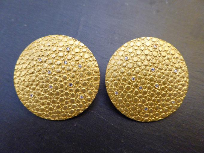 Ohrstecker mit Brillianten, Gelbgold 900