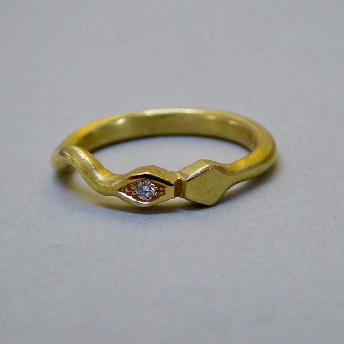 Ring mit Brilliant, Gelbgold 750
