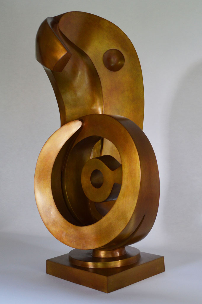 Abstract contemporary bronze sculpture by HEX who is a member of the Royal British Society of Sculptors in London. Masterpiece, Frieze, Victoria.