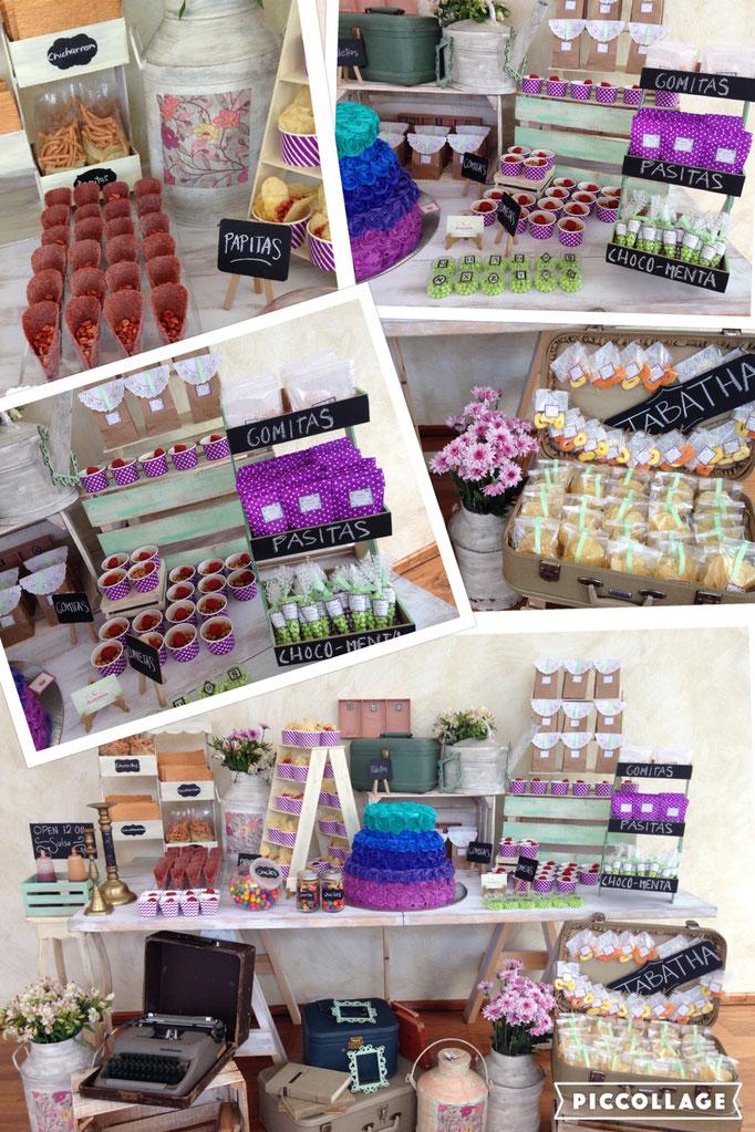 Mesa de dulces morada