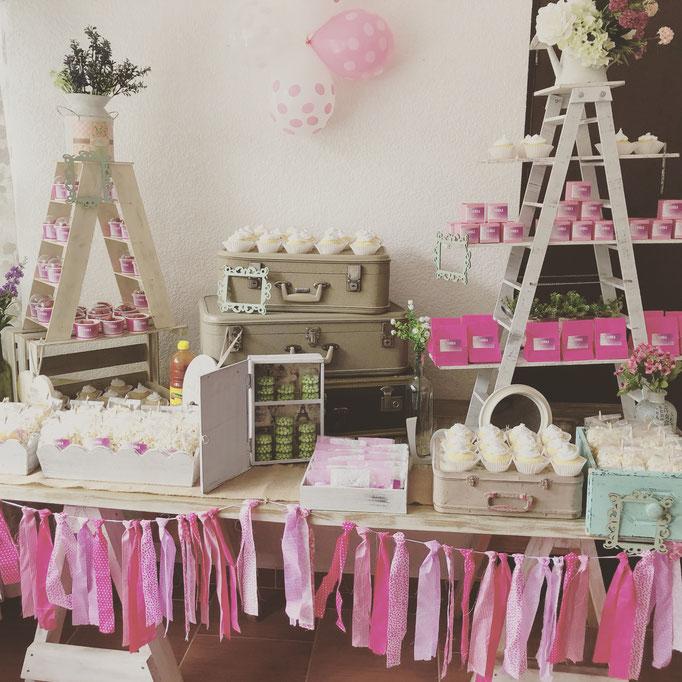 Mesa de dulces bautizo rosa