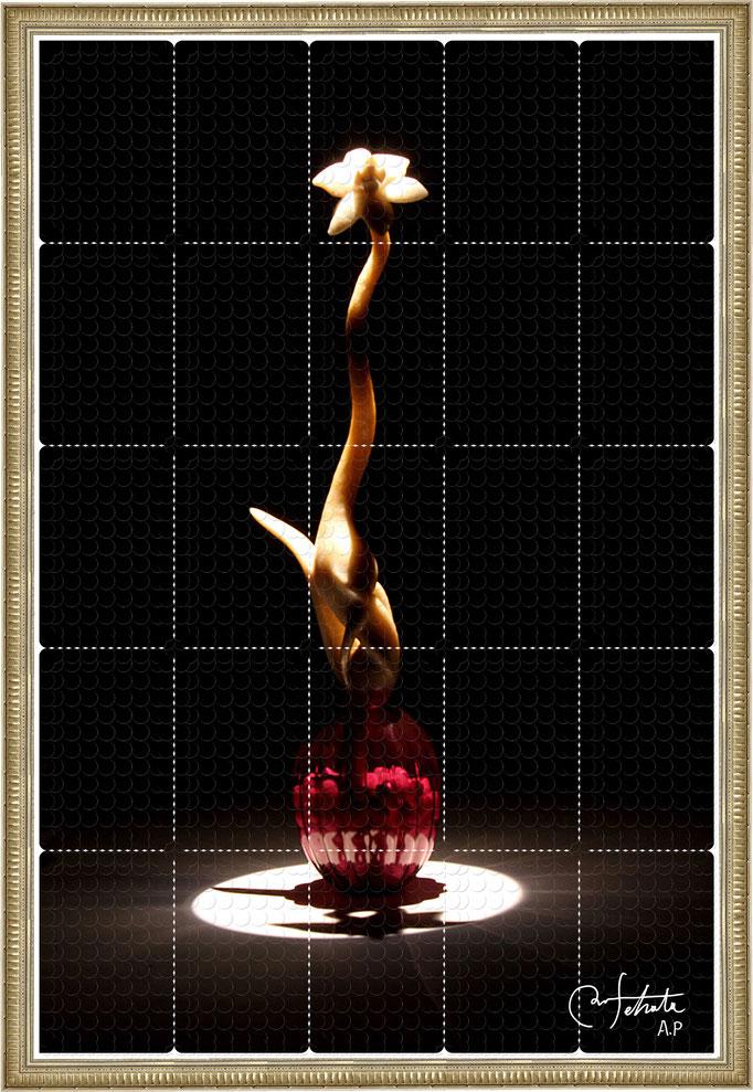 ラベル版画™『セロフラワー.1』/ 2013年制作 / 16mm丸ラベル 5,241片 / 64×96cm