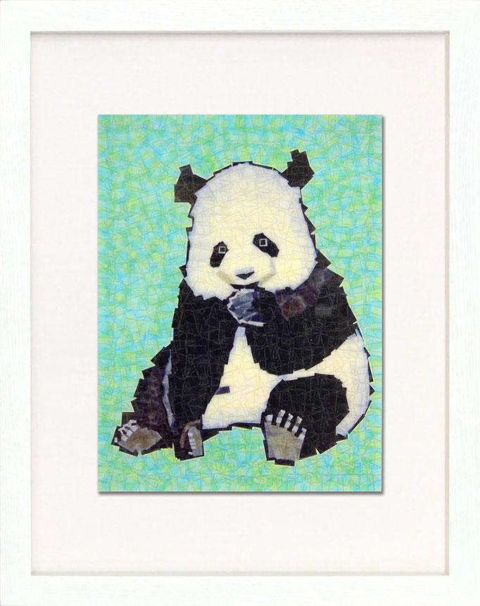 セロハン画 『パンダ』/ 2011年制作 / 21×29.7cm / 特注カラーセロテープ