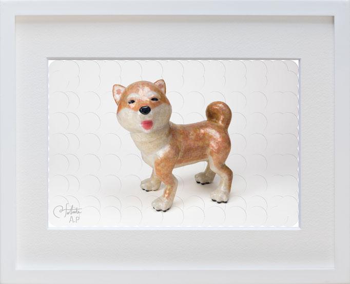 ラベル版画™209 「柴犬」/ 2018年制作  / 16mm丸ラベル 209ピース / 27×22cm