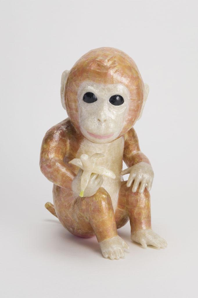 2016年 年賀作品 『お猿さん』/ セロテープ® 、特注カラーセロテープ / 16×24×18cm