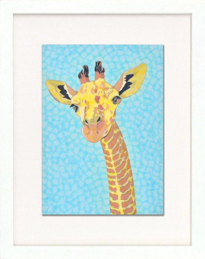セロハン画™『キリン』/ 2014年制作 / 特注カラーセロテープ / 21×29.7cm