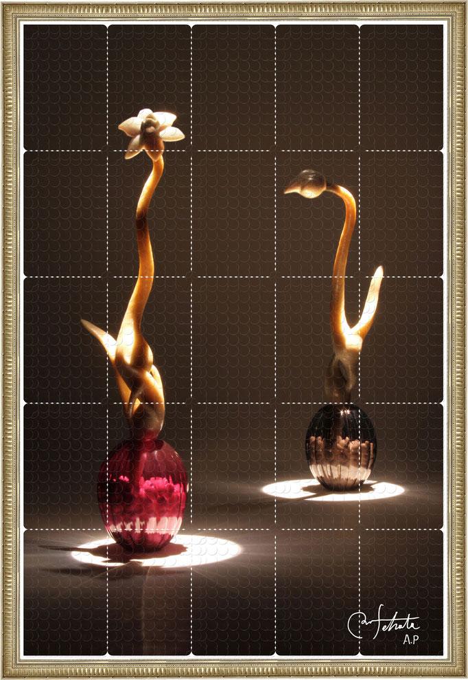 ラベル版画™『セロフラワー.2』/ 2013年制作 / 16mm丸ラベル 5,241片 / 64×96cm