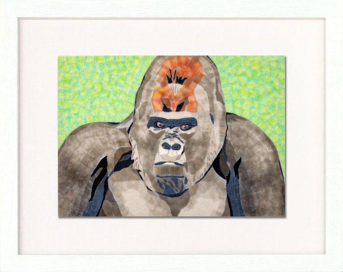 セロハン画™『ゴリラ』/ 2014年制作 / 特注カラーセロテープ / 29.7×21cm