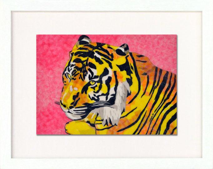 セロハン画™『トラ』/ 2014年制作 / 特注カラーセロテープ / 29.7×21cm