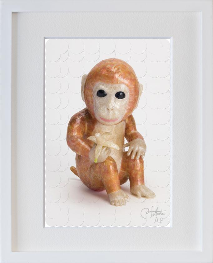 ラベル版画™209 「お猿さん」/ 2018年制作  / 16mm丸ラベル 209ピース / 22×27cm