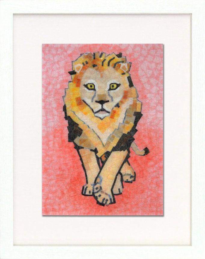 セロハン画 『ライオン』/ 2011年制作 / 21×29.7cm / 特注カラーセロテープ