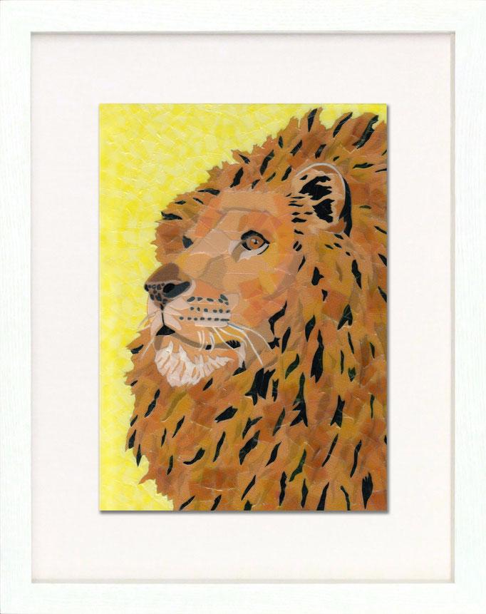 セロハン画™『ライオン 2015』/ 2015年制作 / 特注カラーセロテープ / 21×29.7cm