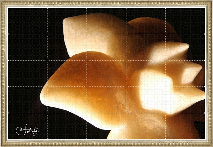 ラベル版画™『セロフラワー.5』/ 2013年制作 / 16mm丸ラベル 5,241片 / 96×64cm