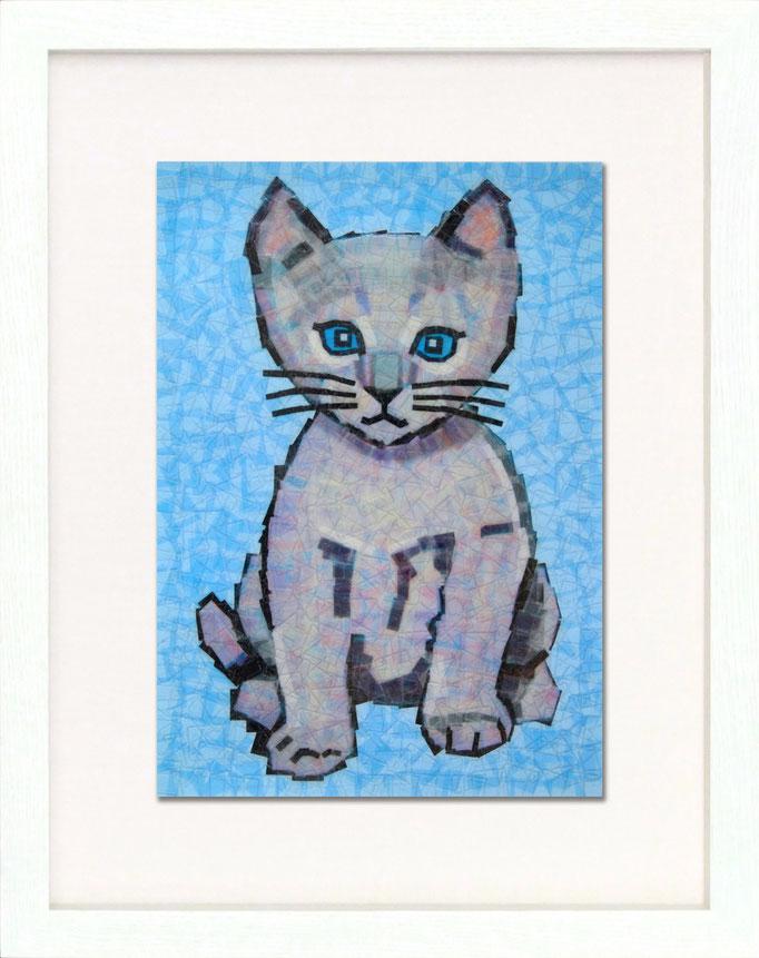 セロハン画 『ネコ』/ 2011年制作 / 21×29.7cm / 特注カラーセロテープ